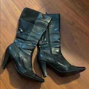 Ladies 8.5 hot patchwork high heel boots